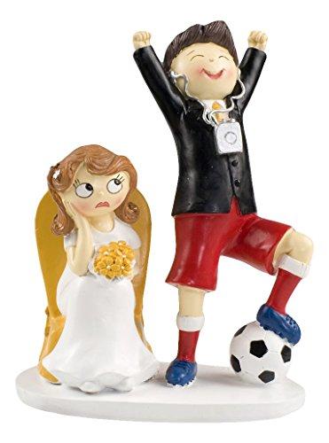 Mopec Y686 - Figura de pastel para boda pareja de novios y fútbol, 14,5 x 19,5 cm