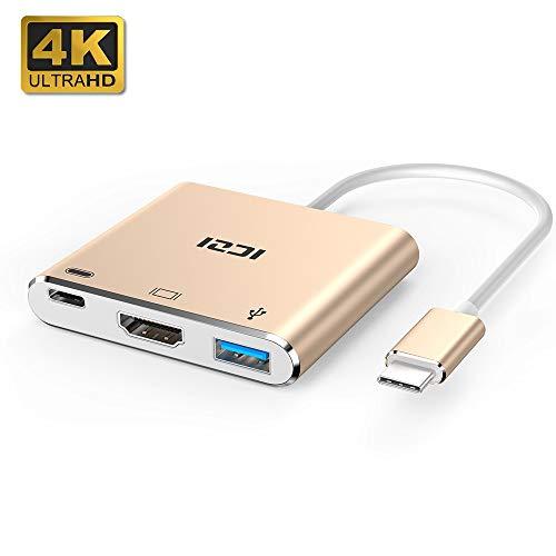 ICZI USB C HDMI 4K Adapter mit USB 3.0 Anschlüsse und Typ C PD 100W Ladeanschluss 3 in 1 Aluminium USB C Hub für MacBook Pro, iPad Pro 2018, Chromebook Pixel und mehr USB C Geräte (Roségold)