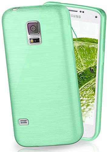 MoEx® Coque très Fine en Silicone Compatible Samsung Galaxy S5 Mini | Style Aluminium brossé, Menthe