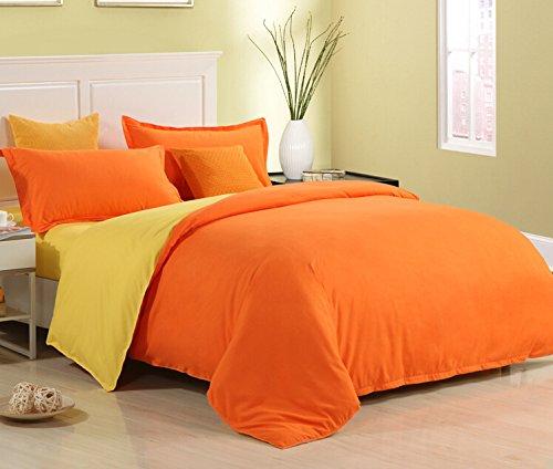Zhiyuan Funda de edredón + 2 Fundas de Almohada con Color sólido, Cama de 90cm, Naranja y Amarillo