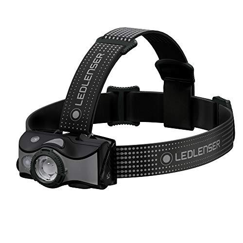 Ledlenser, MH7 Linterna frontal recargable ligera con cabezal de lámpara extraíble, LED de alta potencia, 600 lúmenes, mochileros, senderismo, camping, negro/gris