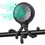 Stroller Fan Upgraded Handheld Personal Fan Battery Operated Mini Portable Fan with LED Light Aromatherapy, Flexible Tripod Clip On Fan with 3 Speeds Versatile Fan for Car Seat Crib Bike Desk (Black)