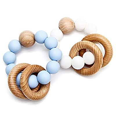 Amazon - 60% Off on Baby Rattle Teether Rings 2 Pack Chewable Silicone Teething Toys with Beech Wood