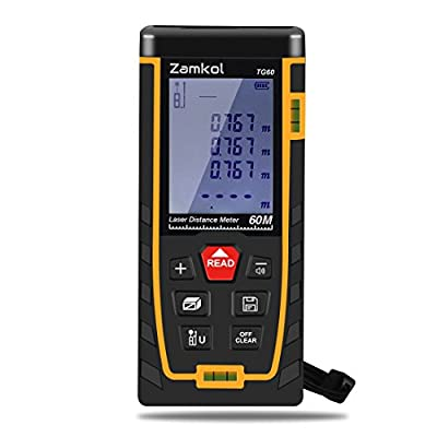 Laser Distance Measure,Zamkol 196ft/60m Laser Distance Meter with LCD Backlight Screen,Handy High precision Mute Laser Measure Device, Measurement for Distance,Area and Volume,Pythagorean Modes