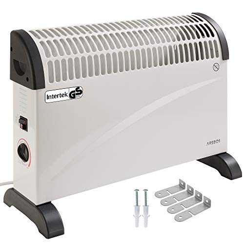 Arebos elektrische Konvektor Heizung Elektroheizer / 2000 Watt/Thermostat/Frostwächter-Funktion/Mit Standfüßen oder zur Wandmontage/GS geprüft von Intertek (Standard)