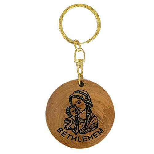 Artesanía Tierra Santa - Llavero en Madera de Olivo de Tierra Santa con Grabado de la Virgen María y Niño Jesús