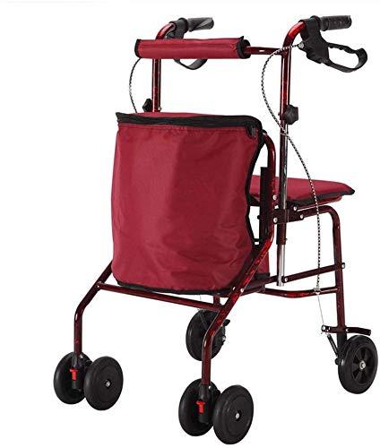 BBG Multifunktions-bewegliche Hand Trucks Einkaufswagen, Old Man Grocery Multifunktions Rollstuhl Folding Hilfs Walker vierrädrigen Wandern Auto Kann Trolley Sitzen,rot,51 × 49 × 93cm