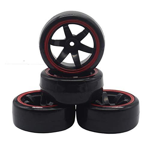 4Pack ShareGoo RC Drift Tires Set,RC Hard Plastic Tyres & Wheel Rims 12mm Hex for Traxxas HSP Tamiya Kyosho HPI Redcat 1/10 On-Road Racing Drifting RC Car