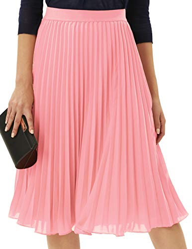 GRACE KARIN Womens Long A Line Swing Pleated Flared Chiffon Skirt Plus Size Pink XXL
