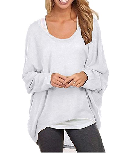 ZANZEA Women's Batwing Sleeve Off Shoulder Loose Oversized Baggy Tops Sweater Pullover Casual Blouse T-Shirt White US 10/Tag Size L
