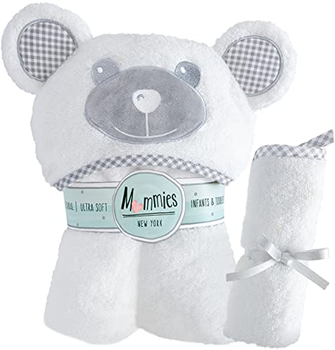 Premium Baby Towel with Hood and Washcloth Gift Set - Organic Bamboo Baby Bath Towel - Cute Bear Ears - Soft, Large Baby Hooded Towel for Infant, Toddler - Unisex for Boy or Girl - White