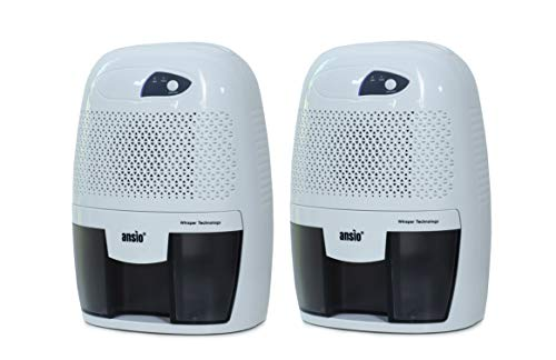ANSIO Electric Portable Mini Dehumidifier for Damp; Mould; Moisture in Home; Kitchen; Bedroom; Office; Bathroom 250ml/Day Extraction Capacity - Pack of 2