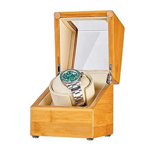 GLXLSBZ Enrollador automático de Madera de bambú, Caja, Adaptador de Almohada Suave y Flexible para Reloj y Accesorios de Motor silencioso con Pilas para Relojes de Hombres y Mujeres