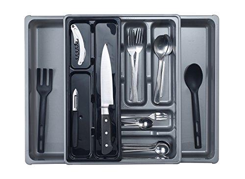 Whitefurze, portaposate in plastica per cassetti, scomparti mobili, 9 vani, plastica, Silver, 39 x 39 x 6 cm