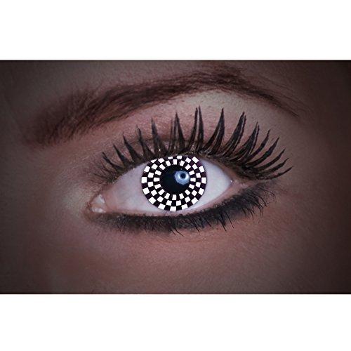 Eyecatcher Flash Chess Color Fun, farbige UV-Kontaktlinsen / Motivlinsen, leuchten bei Schwarzlicht, 1er Pack (1 x 2 Stück)