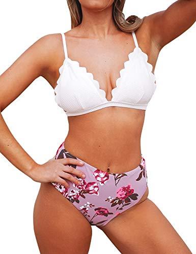 CUPSHE Bikini Triangle Festonné avec Bas de Taille Haute