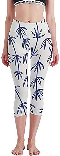 MODORSAN Imagen Vectorial de Patrones sin Fisuras Florales de bambú Dibujado a Mano de Gran tamaño, Siete Puntos, Pantalones de Yoga, Mallas, Control del Vientre
