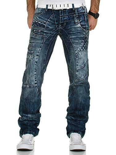 Kosmo Lupo Jeans | Herren Denim Jeanshose | Regular Fit - Straight Leg | Designer K&M Hose | Vintage Clubwear Chino Used | Multi Pocket | Blau (KM040 | 30W / 32L)
