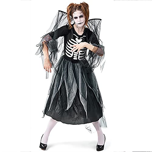Frauen Mode Halloween Angst Cosplay Kleid Sexy Braut Kostüm mit Kopf Schleier Weißer Spitzenkleid (Color : Black, Größe : M)