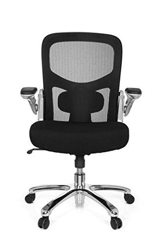 hjh OFFICE 736130 Büro-Schreibtisch-Stuhl bis 220-kg Instructor S X-XL Netz-Stoff, Schwarz, klappbare Armlehnen, Netz-Rücken