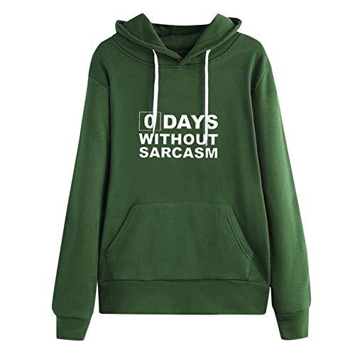 Jersey Suéter Sweater Sudaderas con Capucha para Mujer Casual Planet Print Sudadera con Cordón Suelto Sólido Sudadera con Capucha De Manga Larga XXL Verde