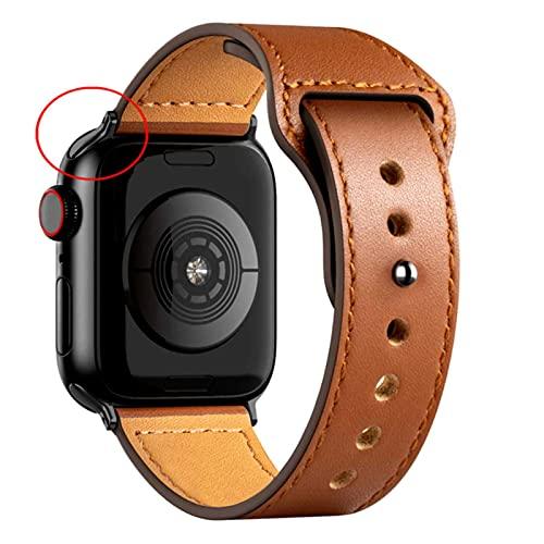 Correa de cuero Para correa de reloj Apple 44 mm 40 mm 42 mm 38 mm 44 mmAccesorios pulsera para iWatch 3 4 5 6-B Marrón, 38 mm o 40 mm