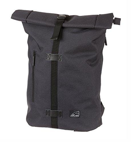 Walker 42368-180 - Rucksack Roll-Up Classic Black, mit 2 Fächern, Laptopfach, Seitentaschen, gepolsterter Rücken, verstellbare Schultergurte, ca. 29 x 15 x 27 cm, ca. 27 Liter