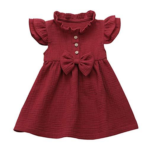 Janly Clearance Sale Falda de vestido para niñas de 0 a 5 años, para bebés y niñas, lazo sólido de lino con volantes, vestido de princesa, bonito regalo para 2 a 3 años, día de San Patricio (vino)