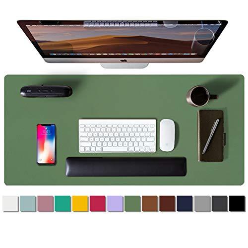 Aothia schreibtischunterlage,Mauspad, Büro-Schreibtischmatte, rutschfester PU-Leder-schreibtischmatte,wasserdichter schreibunterlage für Büro und Zuhause(80cmx40cm,Olivgrün)