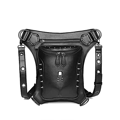 LTCTL Bolso Bandolera para Montar al Aire Libre / Riñonera para Motocicleta Bandolera Bandolera Tribal para Pierna / Bolso Steampunk Multifuncional Usable Longitud Ajustable (301810CM) Negro