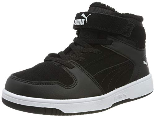 PUMA Unisex Kinder Rebound Layup Fur SD V PS Sneaker, Black White, 31 EU