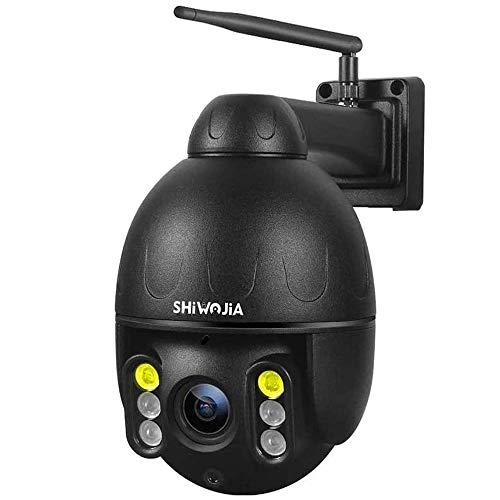 SHIWOJIA PTZ IP Dome Überwachungskamera Outdoor, 1080P HD WiFi Schwenkbare Kamera, Eingebautes Mikrofon und Lautsprecher, IP66 Wasserdicht 30m Nachtsicht Bewegungsmelder Alarm (Schwarz)