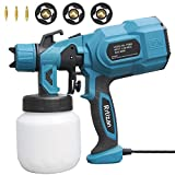 Rrtizan Paint Sprayer, 800W High Power HVLP Spray Gun, Electric Paint Gun with 3 Copper Nozzles, 3 Spray Patterns for Painting Ceiling, Fence, Cabinets, Tables, Chairs, Walls and Crafts