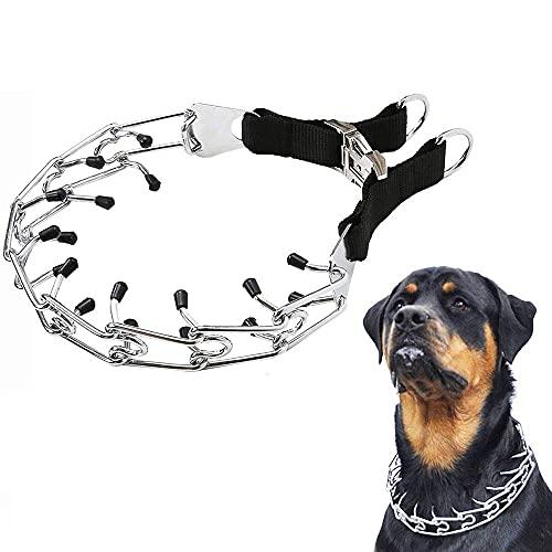 Collar de dientes para perros con tapas de seguridad de goma Collar de estrangulamiento para perros Cadena de acero de metal ajustable Entrenamiento de pinchos para mascotas para perros grandes A