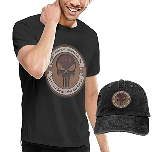 HKGJG T-Shirt Mens Cool American Sniper Tee and Washed Denim Hat Casquette Black