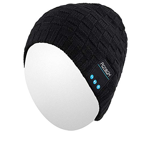 Qshell Winter Bluetooth Beanie Hat Warm Soft Knit Cap with Wireless Headphone Headset Earphone Stereo Speaker Microphone Hands Free for Outdoor Sport,Compatible with Iphone Android Cell Phones - Black