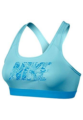 Nike Damen PRO Classic Logo Bra Sport BH, Blau, XL
