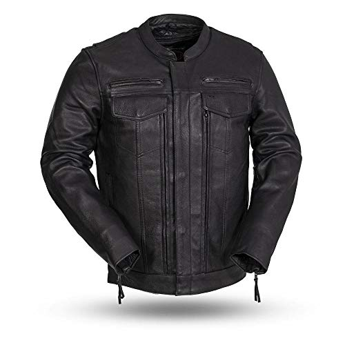 Dockers Men's The Dylan Faux Leather Racer Jacket, dark brown, X-Large