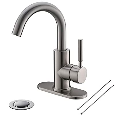 Bathroom Sink Faucet/Bar Sink/Pre-Kitchen Sink Faucet Single-Handle With 4 Inch Deck Plate And Metal Drain By Phiestina, Fit for 1-3 Hole Installation, 360¡ã Rotation Spout, Brushed Nickel, WE08E-BN
