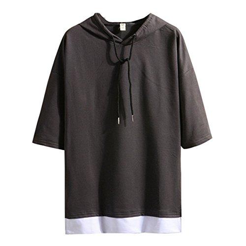 Hisitosa Tシャツ メンズ 半袖 無地 七分袖 パーカー おしゃれ 大きいサイズ カットソートップス フード付き インナー 春 夏 ゆったり カジュアル プルオーバー (XXXXXL, ダックグレー)
