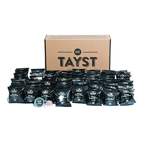 Tayst Coffee Pod Singles 96 count | Vintage Vanilla Cream | Individually Wrapped & Ready To Go |100% Compostable K-Cup | Gourmet Coffee in Earth Friendly Packaging