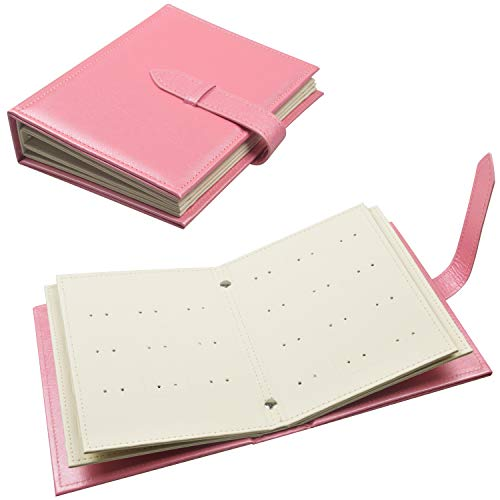 Fangoo Earring Organizer Book Design Earring Holder Travel Jewelry Storage Case Tray Holder, Capable to Hold 42 Pairs (Pink)