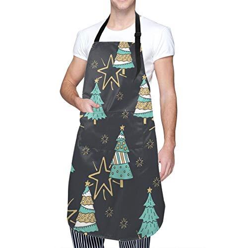 LiBei Delantal de Cocina Impermeable con Bolsillos,Elegante patrón sin Costuras Feliz Navidad con,Ajustable Delantales Hombre Mujer Mandil Cocina para Jardinería Restaurante Barbacoa Cocinar Hornear