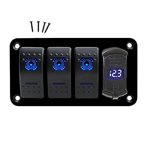 Moniel Panel de interruptores basculantes para barcos marinos de 4 pandillaspanel de interruptores RV LED a prueba de agua de 12 V/24 V con puerto de cargador USB dual para embarcación marina para