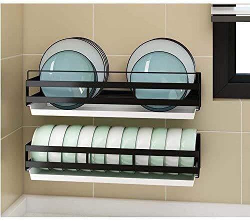 Shelf Estante de baño de cocina, escurridor de platos de cocina Estante de cocina con bandeja de goteo Tablero de drenaje adicional Estante de almacenamiento de pared para colgar en la pared del hoga