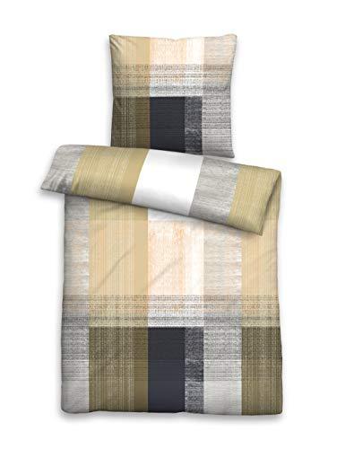 biberna 0636158 Bettwäsche Garnitur mit Kopfkissenbezug Mako-Baumwoll-Satin 1x 240x220 cm + 2x 80x80 cm gelb