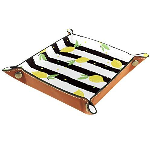 AITAI Bandeja de valet de piel vegana para mesita de noche, organizador de escritorio, plato de almacenamiento Catchall, fruta, amarillo, limón, negro, blanco, rayas