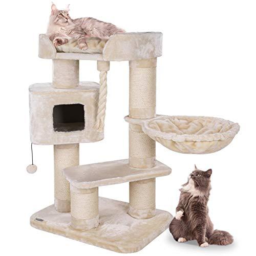Happypet® Kratzbaum für Katzen groß 118 cm Katzenbaum geeignet für große Katzen (Maine Coon), stabile extra Dicke Sisal-Säulen ca. 15cm, geräumiges Haus Spiel-Tau, Creme