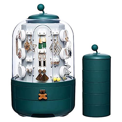 YFY Joyería Verde giratoria Caja de Almacenamiento pequeño Mini Redondo rotativo rotativo de 360 ° Caja de Almacenamiento de Polvo de joyería para Pendientes