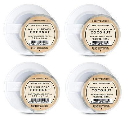Bath and Body Works 4 Pack Waikiki Beach Coconut Scentportable Fragrance Refill. 0.2 Oz.